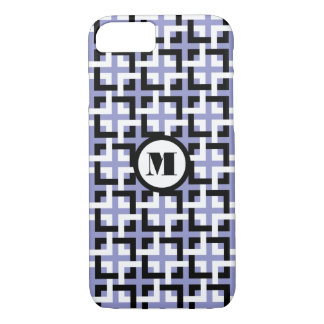 Black-White Squares and Violet iPhone 7 Case