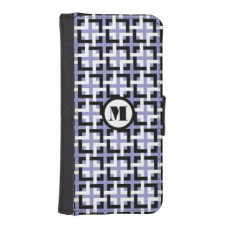 Black-White Squares and Violet Wallet Case Phone Wallet Cases