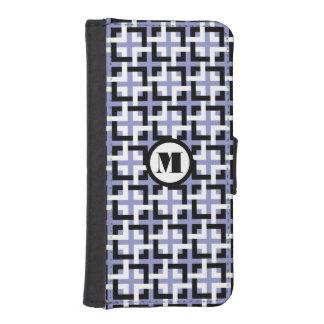 Black-White Squares and Violet Wallet Case Phone Wallet Cases