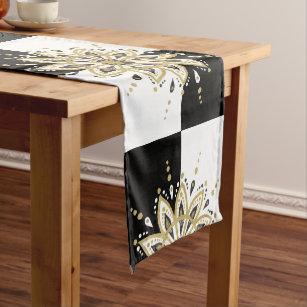 Black U0026 White Squares Gold U0026 Black Mandala 2a Short Table Runner