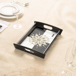 Black & white squares gold & modern gold mandala serving tray