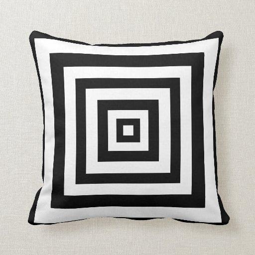 Black white squares throw pillow