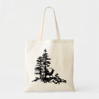 Black White Stag Deer Animal Nature Budget Tote Bag