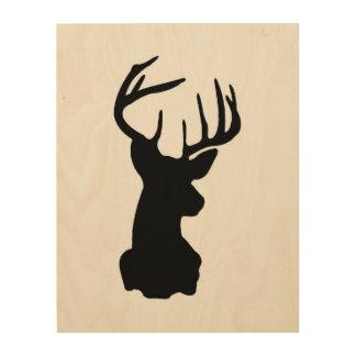 Black & White Stag Head Wood Wall Art