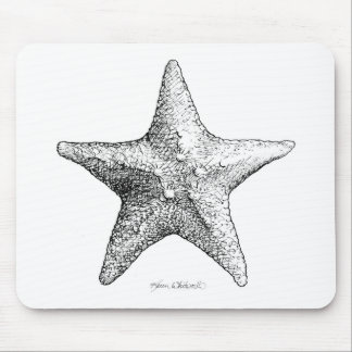 Black & White Starfish Drawing Ocean Beach Art Mouse Pad