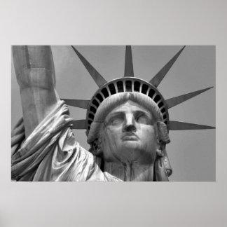 Black & White Statue of Liberty New York Poster