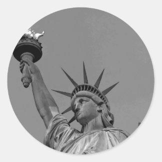Black & White Statue of Liberty New York Round Sticker