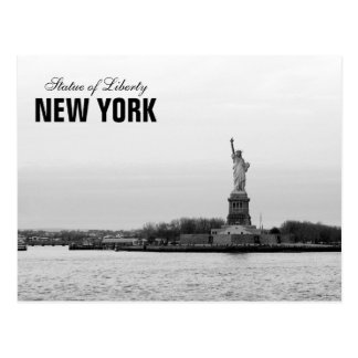 Black White Statue of Liberty - NY New York Postcard