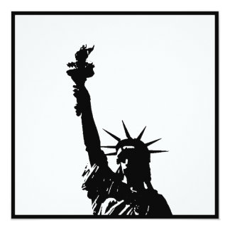 Black & White Statue of Liberty Silhouette Invites