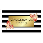 Black & White Stripe and Gold With Vintage Roses Pack Of Standard Business Cards
