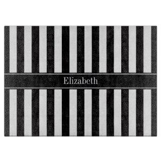 Black White Stripe Black Name Monogram Cutting Board
