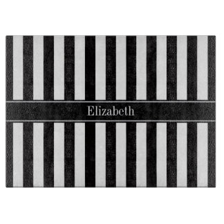 Black White Stripe Black Name Monogram Cutting Board
