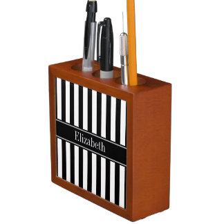 Black White Stripe Black Name Monogram Desk Organiser