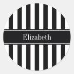 Black White Stripe Black Name Monogram Round Sticker