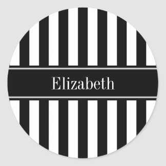 Black White Stripe Black Name Monogram Round Sticker