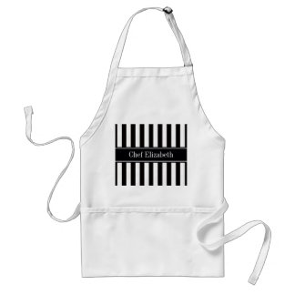 Black White Stripe Black Name Monogram Standard Apron