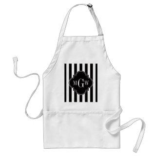 Black White Stripe Black Quatrefoil 3 Monogram Adult Apron