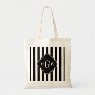 Black White Stripe Black Quatrefoil 3 Monogram Budget Tote Bag