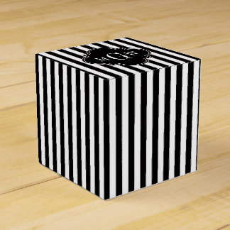 Black White Stripe Black Quatrefoil 3 Monogram Favour Box