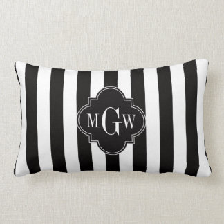 Black White Stripe Black Quatrefoil 3 Monogram Lumbar Pillow
