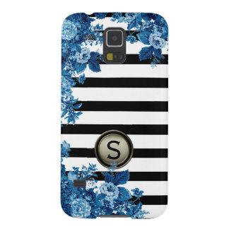 Black White Stripe Blue Floral Motif Monogram Galaxy S5 Cases