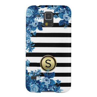 Black White Stripe Blue Floral Motif Monogram Galaxy S5 Cover