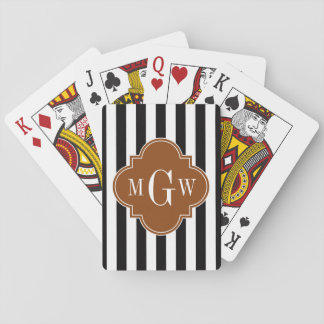 Black White Stripe Brown Quatrefoil 3 Monogram Playing Cards