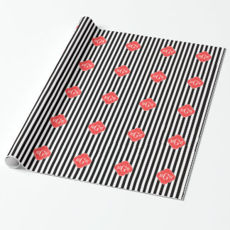 Black White Stripe Coral Quatrefoil 3 Monogram Wrapping Paper