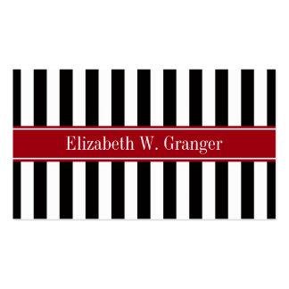 Black White Stripe Cranberry Name Monogram Business Card Template