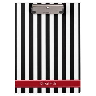 Black White Stripe Cranberry Name Monogram Clipboard