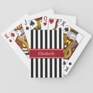 Black White Stripe Cranberry Name Monogram Poker Deck