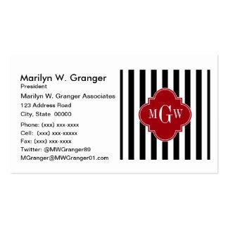 Black White Stripe Cranberry Quatrefoil 3 Monogram Business Card Templates