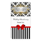Black White Stripe Damask Red Party Wine Label