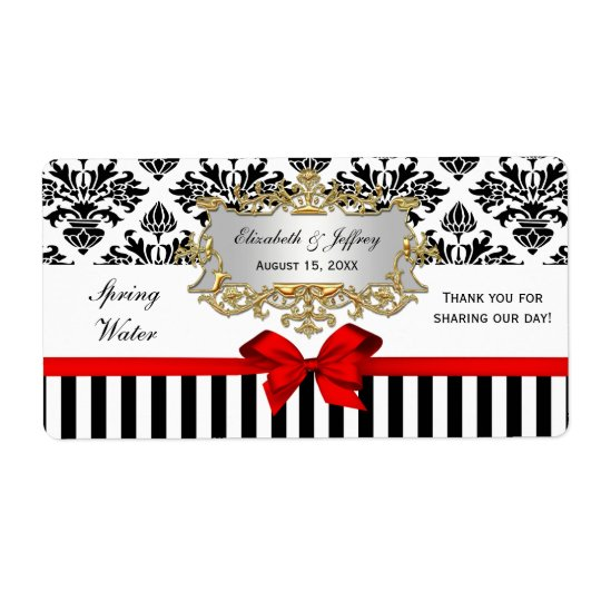 Black White Stripe Damask Red Water Label Shipping