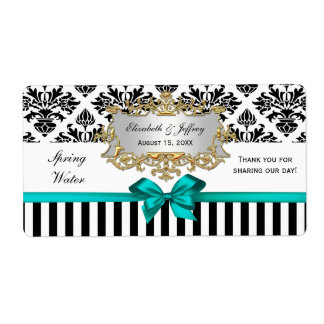 Black White Stripe Damask Teal Water Label Shipping Label