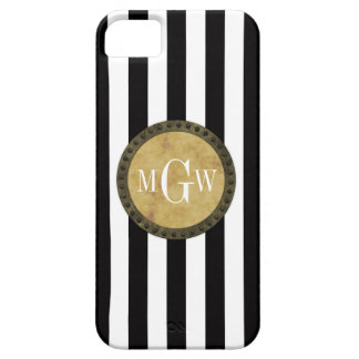 Black White Stripe Distressed Steampunk 3 Monogram Barely There iPhone 5 Case