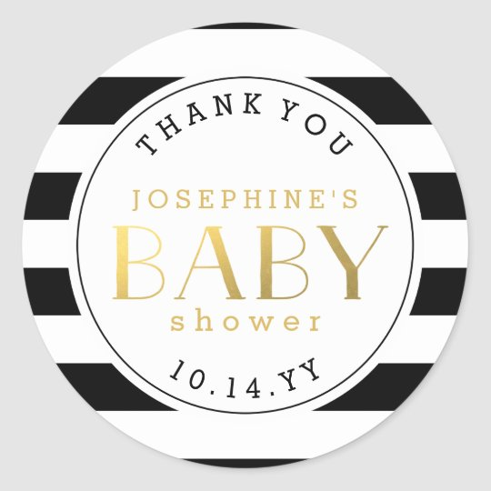Black White Stripe Faux Gold Baby Shower Thank