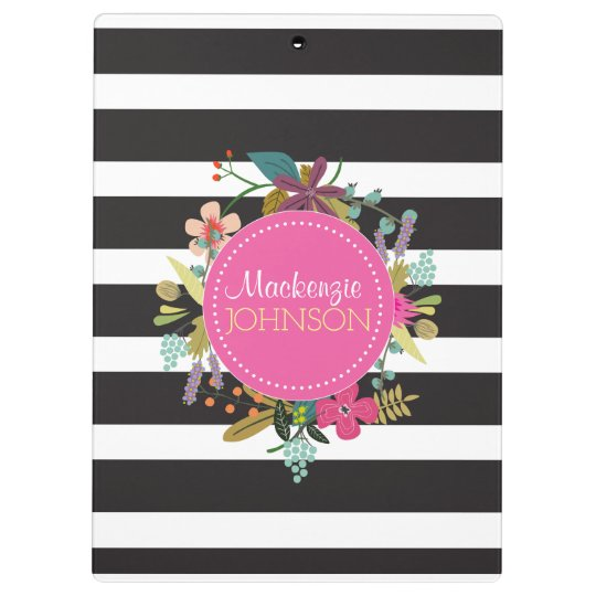 Black White Stripe Floral Clipboard