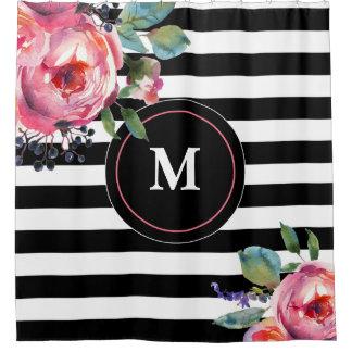 Black White Stripe Floral Monogram Shower Curtain