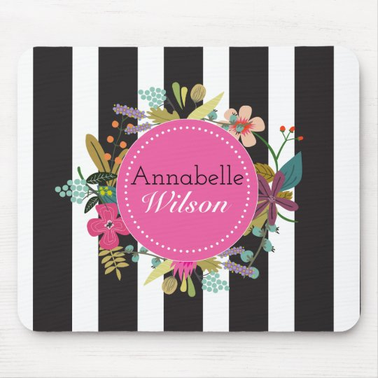 Black White Stripe Floral Mousepad