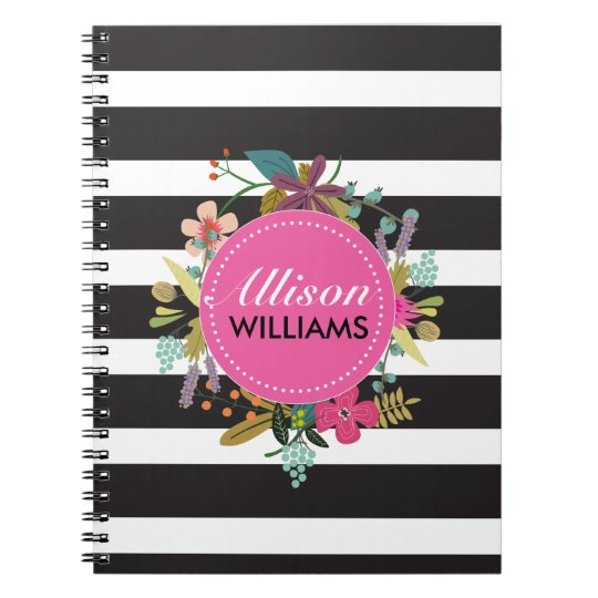 Black White Stripe Floral Notebook