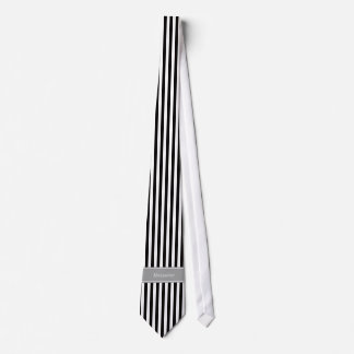 Black White Stripe Gray Ribbon Name Monogram Tie