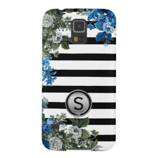 Black White Stripe Green Blue Floral Monogram Galaxy S5 Case