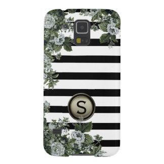 Black White Stripe Green Floral Motif Monogram Cases For Galaxy S5