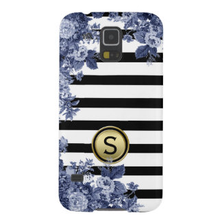 Black White Stripe Indigo Floral Motif Monogram Galaxy S5 Case