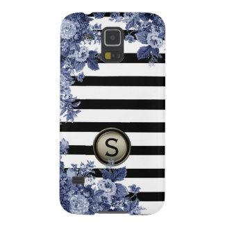 Black White Stripe Indigo Floral Motif Monogram Galaxy S5 Cover