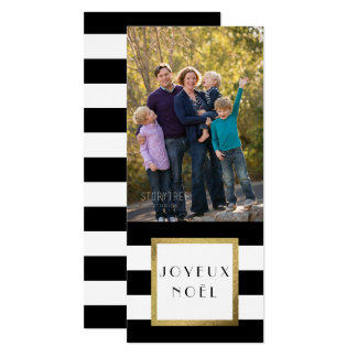"Black & White Stripe ""Joyeux Noël"" Photo Xmas 10 Cm X 24 Cm Invitation Card"