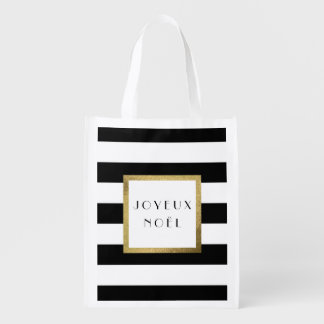 "Black & White Stripe ""Joyeux Noël"" Xmas Holiday Reusable Grocery Bag"