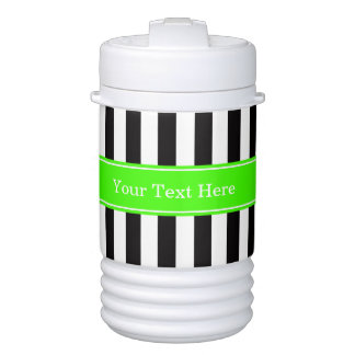 Black White Stripe Lime Ribbon Name Monogram Drinks Cooler