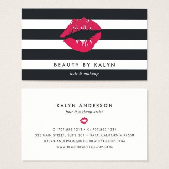 Black & White Stripe Lip Print Business Card